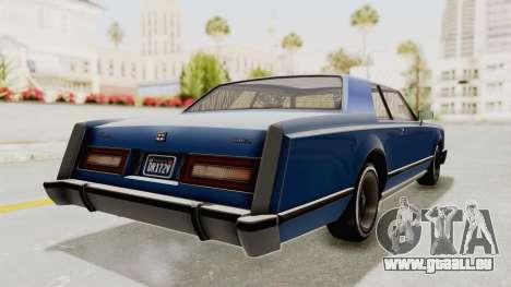 GTA 5 Dundreary Virgo Classic Custom v1 IVF pour GTA San Andreas sur la vue arrière gauche