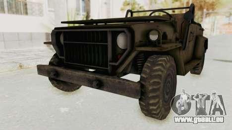 MGSV Jeep No LMG pour GTA San Andreas vue de droite