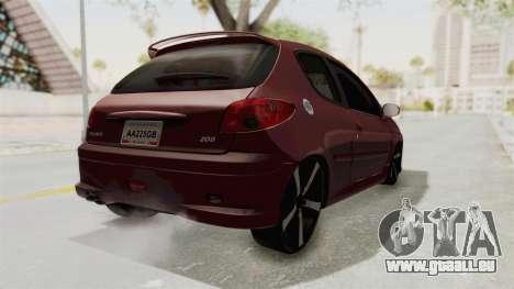 Peugeot 206 Full für GTA San Andreas zurück linke Ansicht
