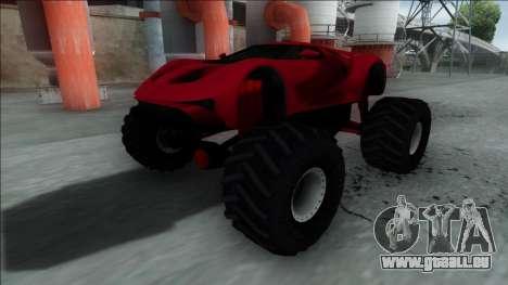 GTA V Vapid FMJ Monster Truck pour GTA San Andreas sur la vue arrière gauche