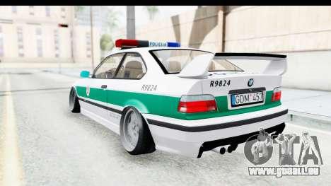 BMW M3 E36 Stance Lithuanian Police pour GTA San Andreas sur la vue arrière gauche