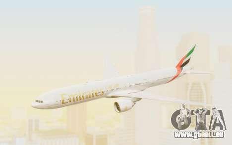 Boeing 777-300ER Emirates für GTA San Andreas zurück linke Ansicht