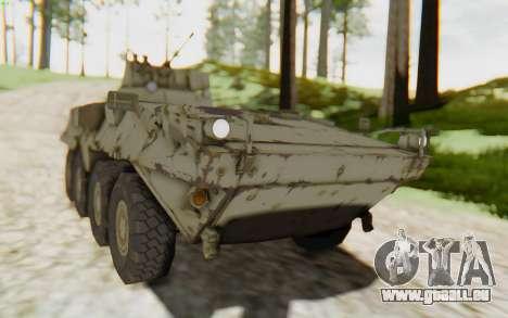 MGSV Phantom Pain STOUT IFV APC Tank v2 für GTA San Andreas zurück linke Ansicht
