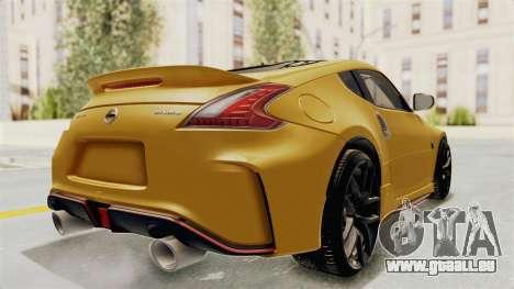 Nissan 370Z Nismo Z34 für GTA San Andreas zurück linke Ansicht