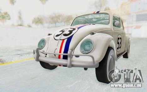 Volkswagen Beetle 1200 Type 1 1963 Herbie für GTA San Andreas rechten Ansicht