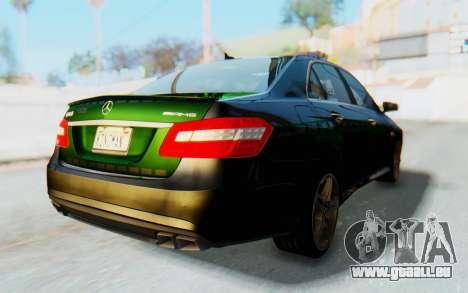 Mercedes-Benz E63 German Police Green pour GTA San Andreas sur la vue arrière gauche
