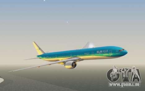 Boeing 777-300ER KLM - Royal Dutch Airlines v2 pour GTA San Andreas sur la vue arrière gauche