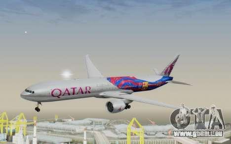 Boeing 777-300ER Qatar Airways v2 pour GTA San Andreas sur la vue arrière gauche