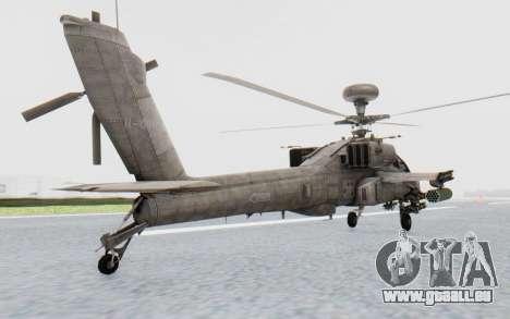 AH-64 Apache Desert pour GTA San Andreas sur la vue arrière gauche
