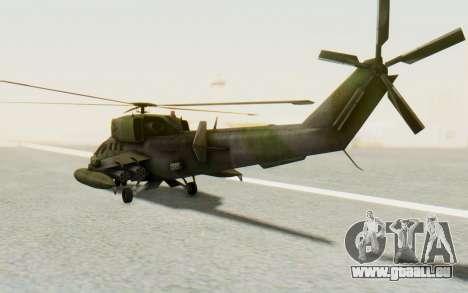 WZ-19 Attack Helicopter pour GTA San Andreas sur la vue arrière gauche
