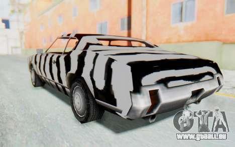 White Zebra Sabre Turbo für GTA San Andreas linke Ansicht