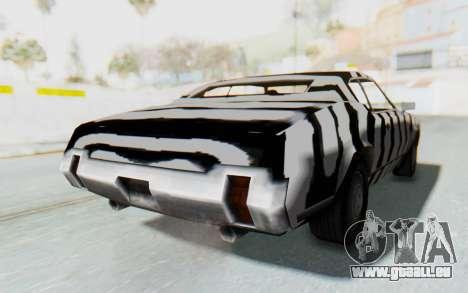 White Zebra Sabre Turbo pour GTA San Andreas sur la vue arrière gauche