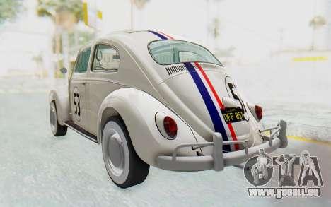 Volkswagen Beetle 1200 Type 1 1963 Herbie für GTA San Andreas zurück linke Ansicht