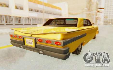 GTA 5 Declasse Voodoo PJ SA Lights pour GTA San Andreas sur la vue arrière gauche