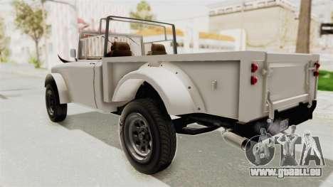 GTA 5 Canis Bodhi pour GTA San Andreas sur la vue arrière gauche