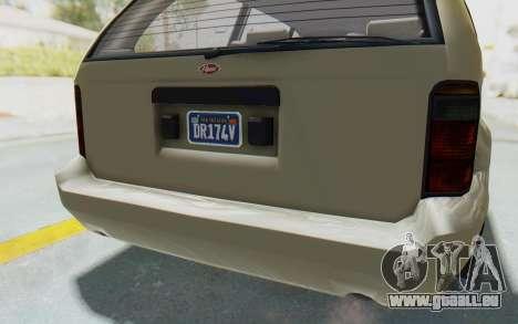 GTA 5 Vapid Minivan Custom without Hydro IVF pour GTA San Andreas vue de dessous