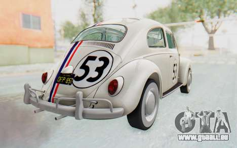 Volkswagen Beetle 1200 Type 1 1963 Herbie pour GTA San Andreas laissé vue