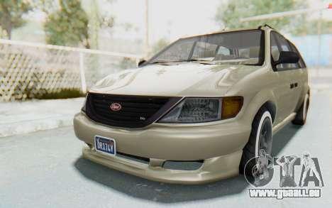 GTA 5 Vapid Minivan Custom without Hydro IVF für GTA San Andreas zurück linke Ansicht