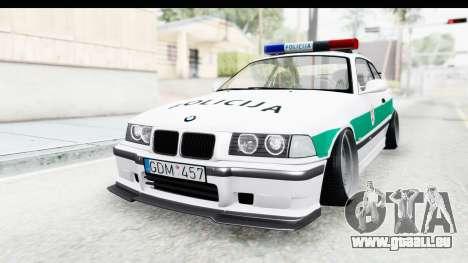 BMW M3 E36 Stance Lithuanian Police pour GTA San Andreas vue de droite