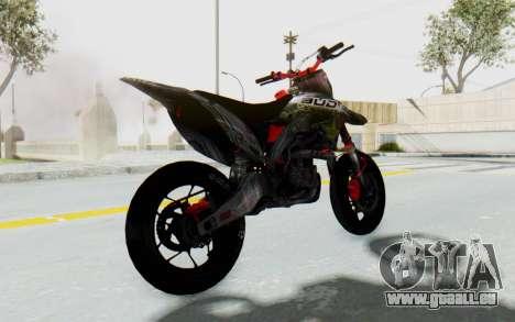 Kawasaki KX125 Supermoto v2 High Modif für GTA San Andreas zurück linke Ansicht