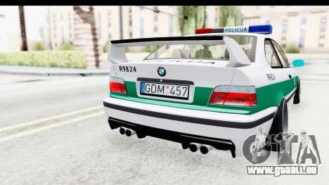 BMW M3 E36 Stance Lithuanian Police pour GTA San Andreas vue de côté