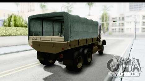 AM General M35A2 Sand pour GTA San Andreas sur la vue arrière gauche