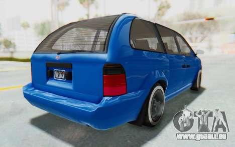 GTA 5 Vapid Minivan Custom pour GTA San Andreas sur la vue arrière gauche