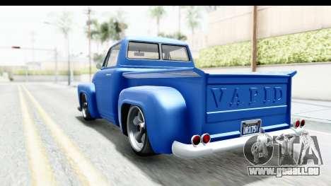 GTA 5 Vapid Slamvan without Hydro IVF pour GTA San Andreas sur la vue arrière gauche