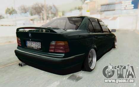 BMW 325tds E36 pour GTA San Andreas sur la vue arrière gauche
