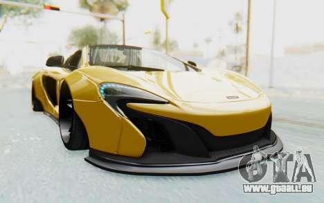 McLaren 650S Spyder ZenWorks für GTA San Andreas zurück linke Ansicht