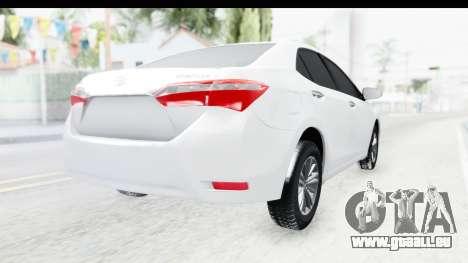 Toyota Corolla 2015 für GTA San Andreas zurück linke Ansicht