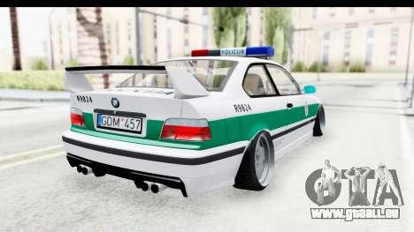 BMW M3 E36 Stance Lithuanian Police pour GTA San Andreas laissé vue