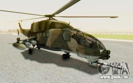 WZ-19 Attack Helicopter Asian pour GTA San Andreas sur la vue arrière gauche
