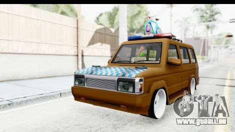 Toyota Kijang Grand Extra with Bike pour GTA San Andreas vue de droite