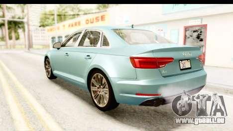 Audi A4 TFSI Quattro 2017 pour GTA San Andreas laissé vue