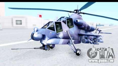 Denel AH-2 Rooivalk Blue pour GTA San Andreas vue de droite