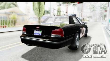 Vapid ULTOR Police Cruiser pour GTA San Andreas sur la vue arrière gauche