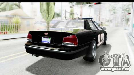 Vapid ULTOR Police Cruiser für GTA San Andreas zurück linke Ansicht