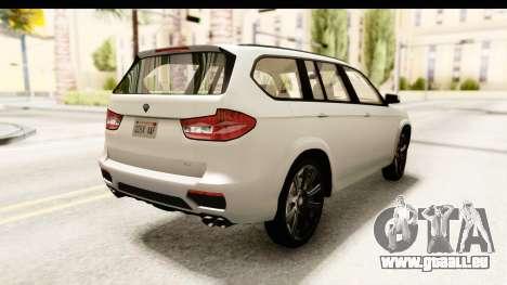 GTA 5 Benefactor XLS SA Style für GTA San Andreas zurück linke Ansicht