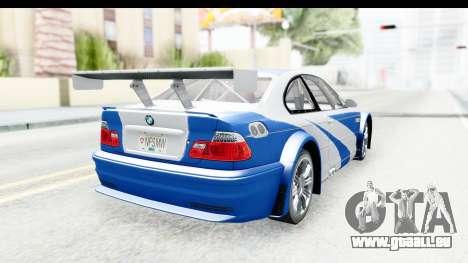 NFS: MW - BMW M3 GTR pour GTA San Andreas laissé vue