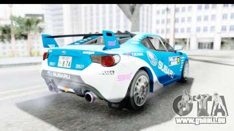 Subaru BRZ Rally pour GTA San Andreas vue de droite
