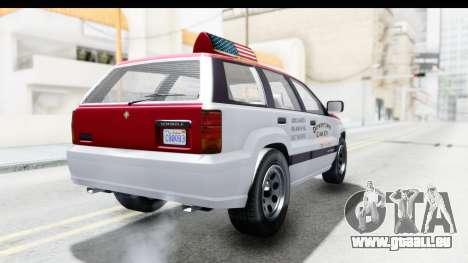GTA 5 Canis Seminole Downtown Cab Co. Taxi für GTA San Andreas zurück linke Ansicht