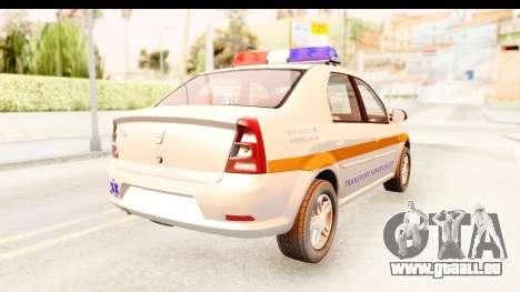 Dacia Logan Facelift Ambulanta v2 pour GTA San Andreas sur la vue arrière gauche