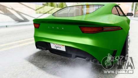 GTA 5 Ocelot Lynx IVF für GTA San Andreas Seitenansicht