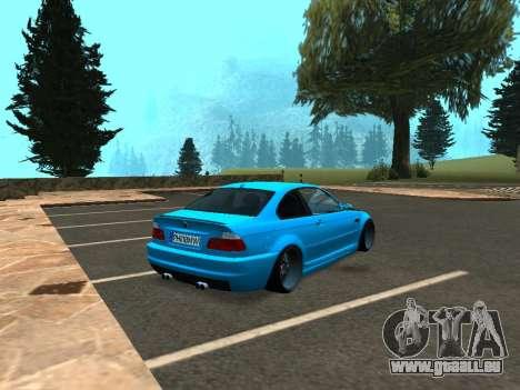 BMW M3 E46 Position pour GTA San Andreas sur la vue arrière gauche