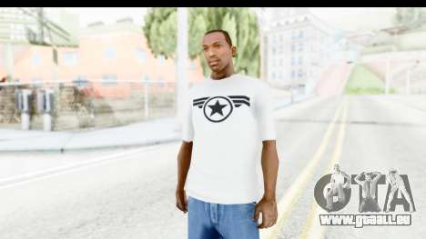 Captain America White T-Shirt für GTA San Andreas