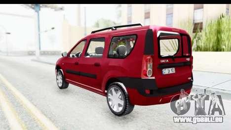 Dacia Logan MCV pour GTA San Andreas sur la vue arrière gauche