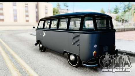 Volkswagen Transporter T1 Deluxe Bus pour GTA San Andreas laissé vue