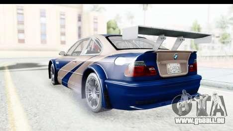 NFS Carbon - BMW M3 GTR pour GTA San Andreas vue de droite