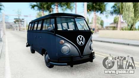Volkswagen Transporter T1 Deluxe Bus pour GTA San Andreas vue de droite